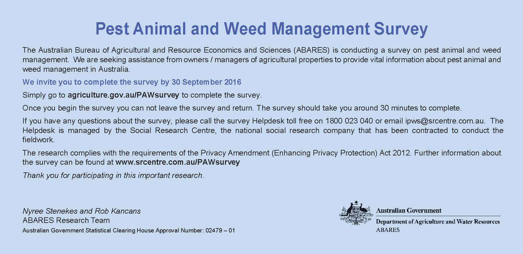 ABARES Pest and Weed Survey 2016 jpeg